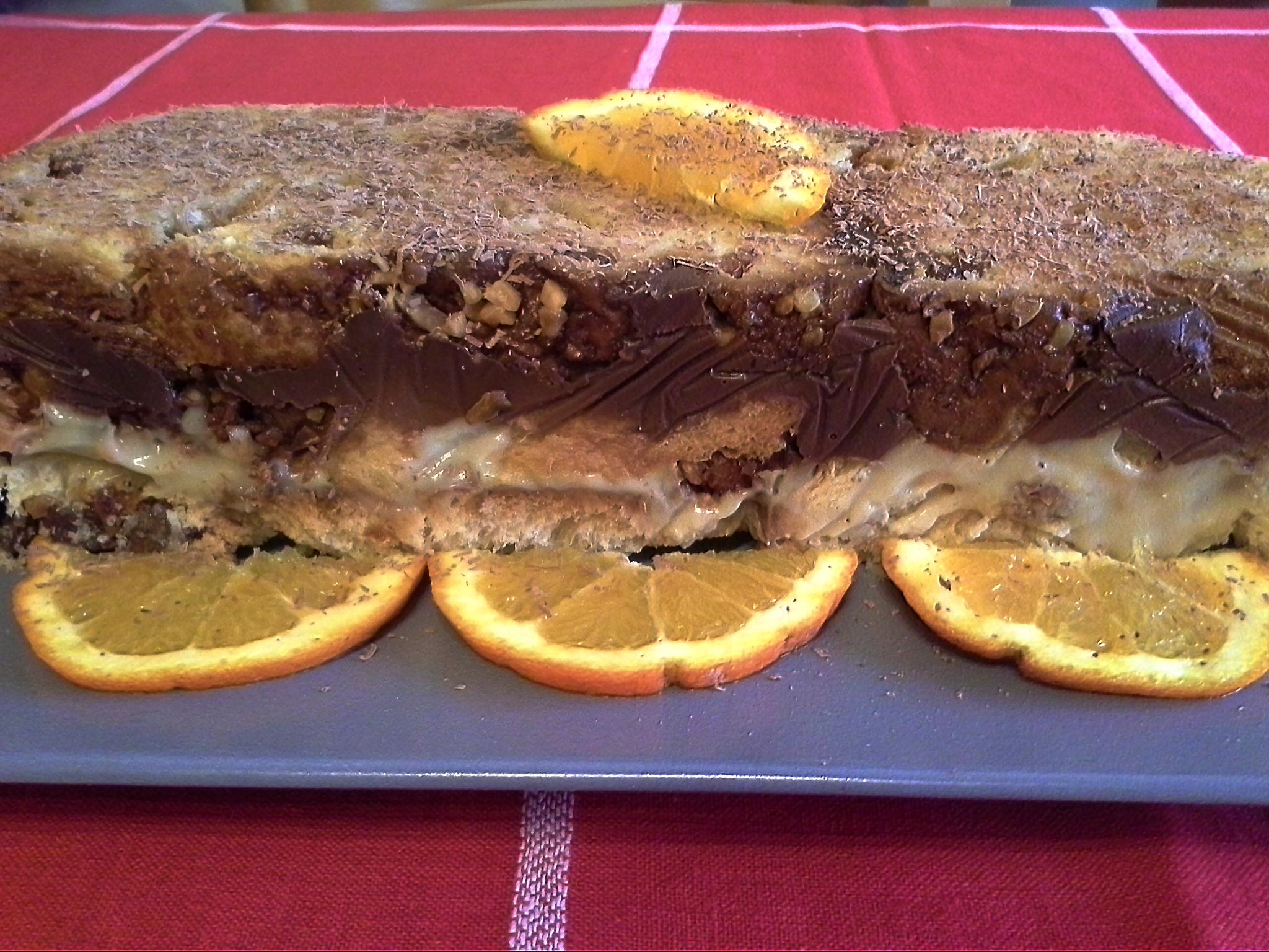 Recycling panettone mattonella con crema all arancia e cioccolato